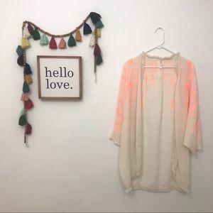 Cream + neon orange beach cover kimono
